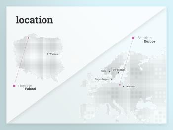 grafika prezentująca lokalizację Słupska w Polsce i Europie (mapa)