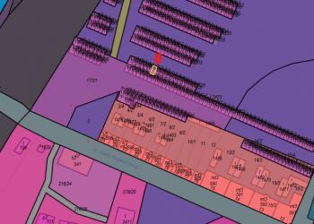 Zdjęcie przedstawia mapę z budynkiem garażowym przy ul.ks.Józefa Poniatowskiego