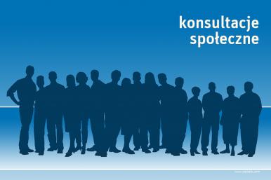 plakat z zarysem postaci, mężczyzn i kobiet i napisem konsultacje społeczne