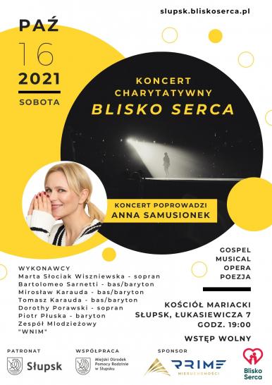 Plakat z datą i miejscem koncertu, wykonawcami oraz fotografią anny Samusionek