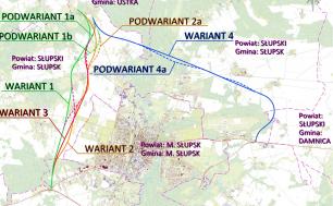 Mapa topograficzna z wrysowanymi propozycjami lokalizacji drogi.