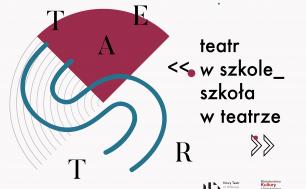 """logo akcji """"Tetar w szkole, szkoła w teatrze"""", po lewej stronie rozrzucone literki tworzące słowo TEATR, po prawej nazwa akcji, poniżej logotypy Nowego teatru i Ministerstwa Kultury i Dziedzictwa Narodowego"""
