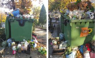Pojemniki wypełnione odpadami z cmenarzy.
