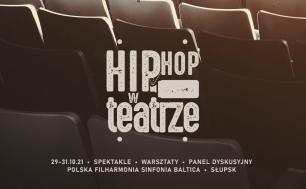 grafika w ciemnym brązowym kolorze, rząd teatralnych krzeseł z napisem Hip Hop w Teatrze 29 - 31.10.21