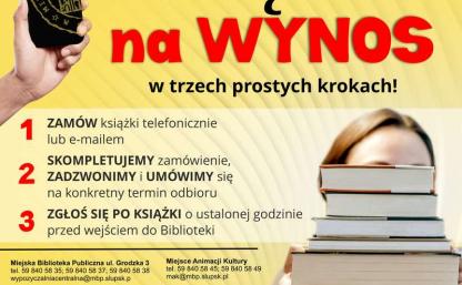 plakat akcji, u góry napis książka na wynos, po prawej dziecko trzymające książki, zasady opisane poniżej w tekście, adresy bibliotek