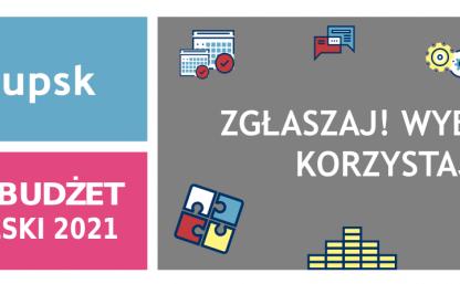 """baner SBo 2021 - trzy kolorowe prostokąty, logo słupska, grafiki i napisy """"zgłaszaj! wybieraj! korzysta!"""" oraz """"słupski budżet obywatelski 2021"""""""