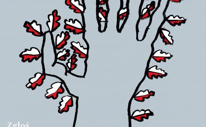 Na zdjęciu widzimy plakat, na którym mamy terminy zgłoszeń do projektu, nazwę plebiscytu oraz dłoń narysowaną czarną kreską na kształt drzewa, którego liście stanowią flagi biało-czerwone