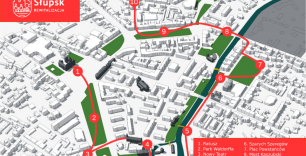 Grafika przedstawia trasę spaceru badawczego w ramach konsultacji Gminnego Programu Rewitalizacji
