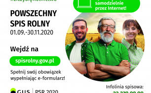 Plakat dotyczący Spisu Rolnego z informacją o numerach telefonu i stronie www, zdjęcie trzech osób na tle pola zbóż