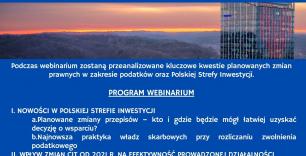 Plakat na niebieskim tle z programem webinarium, logotypami organizatorów i zdjeciem biurowca w tle