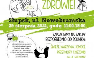 Plakat III Ekofestiwalu w kolorach czarnych i zielonych na białym tle, czarna kura, słoik dżemu i rolniczka z opaską na głowie