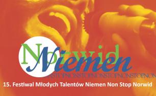 plakat w ciepłym pomarańczowym kolorze napis Norwid Niemen 15. Festiwal Młodych Talentów Niemen Non Stop Norwid