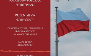 plakat zapraszający na wydarzenie Konstytucja 3 Maja. Tekst na czerwonym tle, obok powiewająca na maszcie flaga w barwie biało-czerwonej.