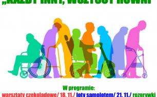 """plakat - napis 3 grudnia międzynarodowy dzień osób niepełnosprawnych """"każdy inni, wszyscy równi"""". grafika prezentująca osoby z różnymi niepełnosprawnościami, program wydarzenia"""