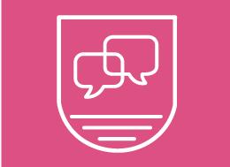 biały logotyp na różowym tle przedstawiający dwie chmurki konwersacji, poniżej trzy poziome kreski różnej długości