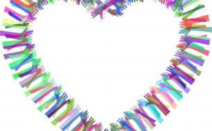 Na obrazku widzimy serce którego kształt nadają ręce i dłonie w różnych kolorach - symbolizujące jedność, dobro i pomoc