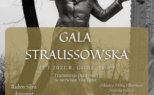 czarno-biały posąg mężczyzny grającego na skrzypcach, na złotym kwadracie napis Gala Straussowska 22.01.2021 Transmisja na żywo w serwisie Youtube