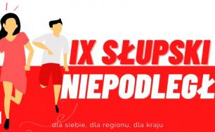 Biało-czerwona grafika IX Słupski Bieg Niepodległości