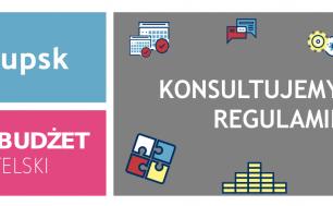 baner z napisem konsultujemy nowy regulamin, logo słupska i napis słupski budżet obywatelski